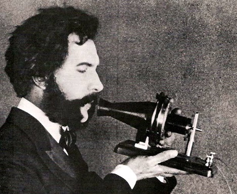 1876 Bell Speaking into Telephone